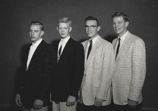 From his own Pocahontas High School quartet singing days with Jerry, second from right, and friend Ro Foege, far left.