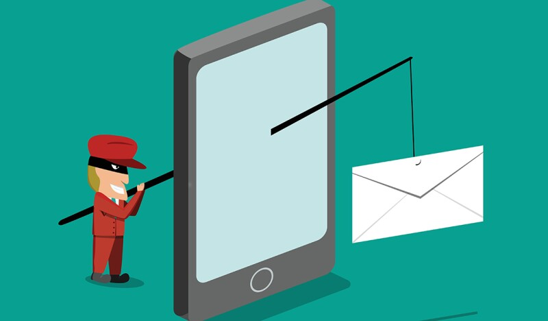 Scammer send phishing mail by mobile phone, vector design
