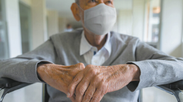 OK man mask wheelchair nursing home