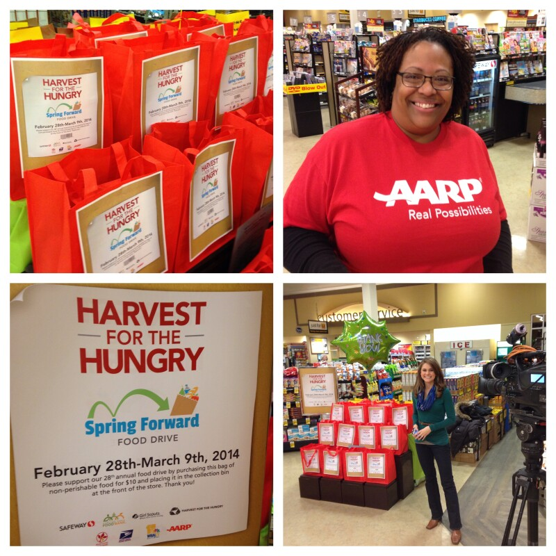 Collage of AARP food drive bags, AARP staff and WBAL's Ava Marie.