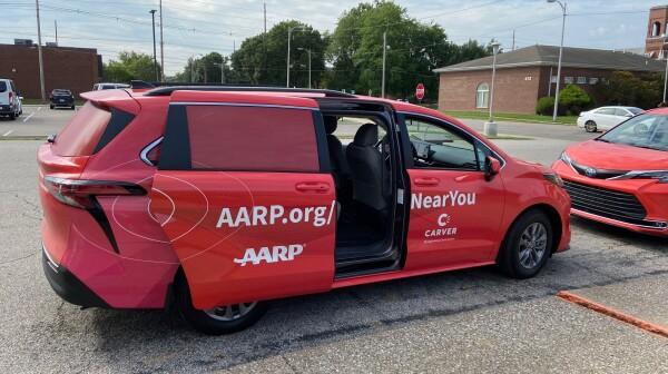 AARP-wrapped van