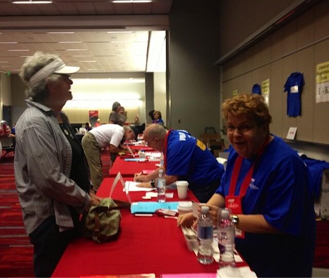 Volunteers check in at Life@50+ Las Vegas