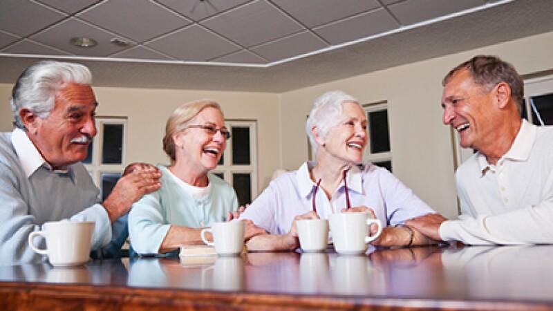 Senior couples drinking coffee