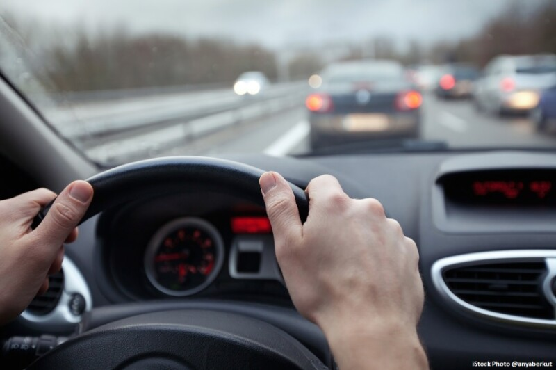 speed control and security distance on the road, driving safely
