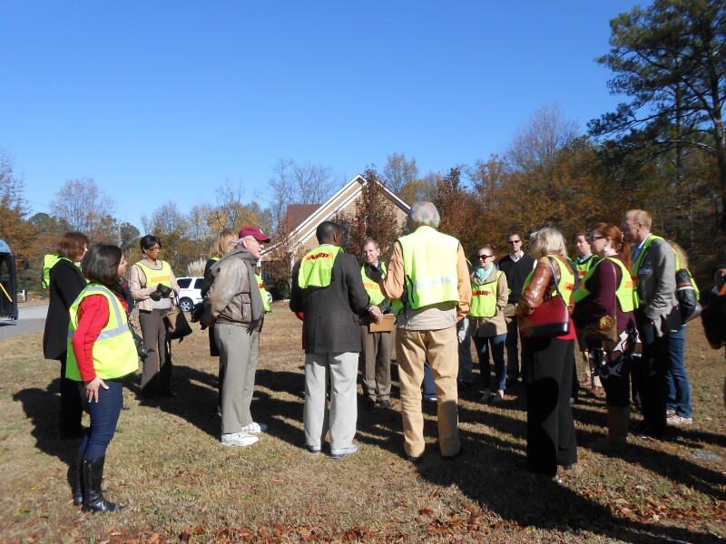 Photo of Livable Communities Workshop walking audit group in Kennesaw, GA - Auditing Cherokee Street for development.