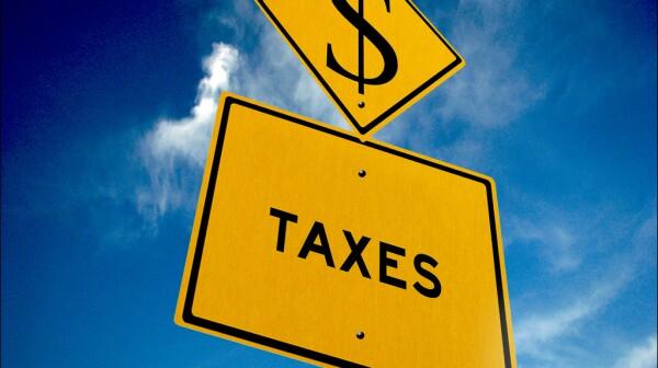 Taxes ahead sign