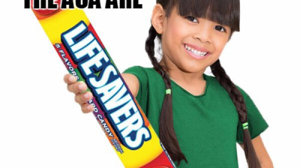 girl with lifesavers