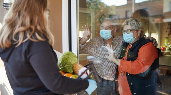 Granddaughter delivers groceries to grandparents during pandemic
