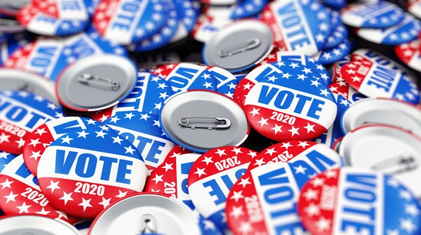 vote election badge button for 2020 background, vote USA 2020, 3D illustration, 3D rendering