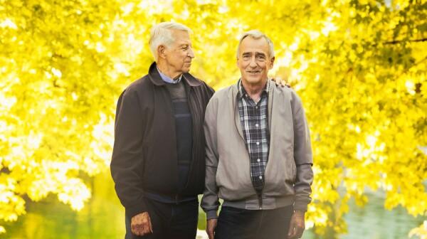 Senior gay couple Autumn portrait in park