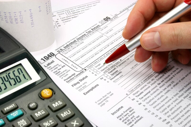 Filling out tax form