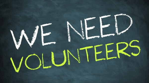 we need volunteers - chalkboard concept