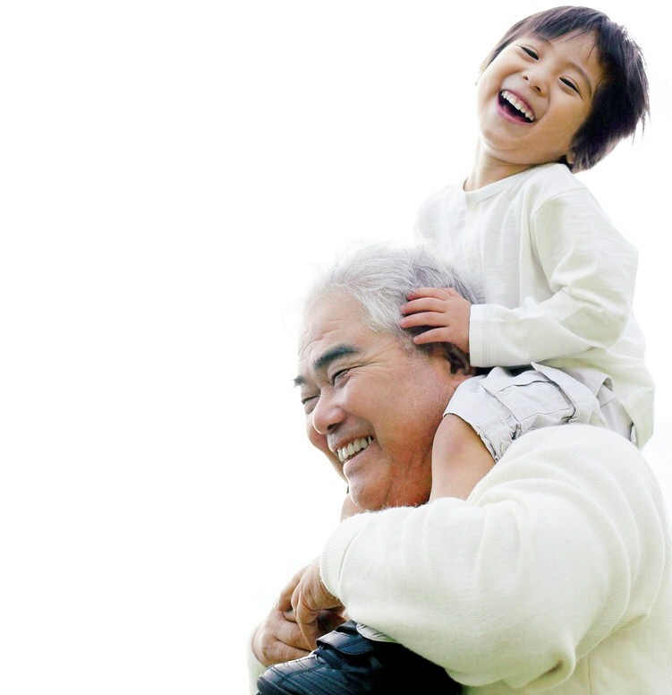 Young Boy on His Grandfather's Shoulders