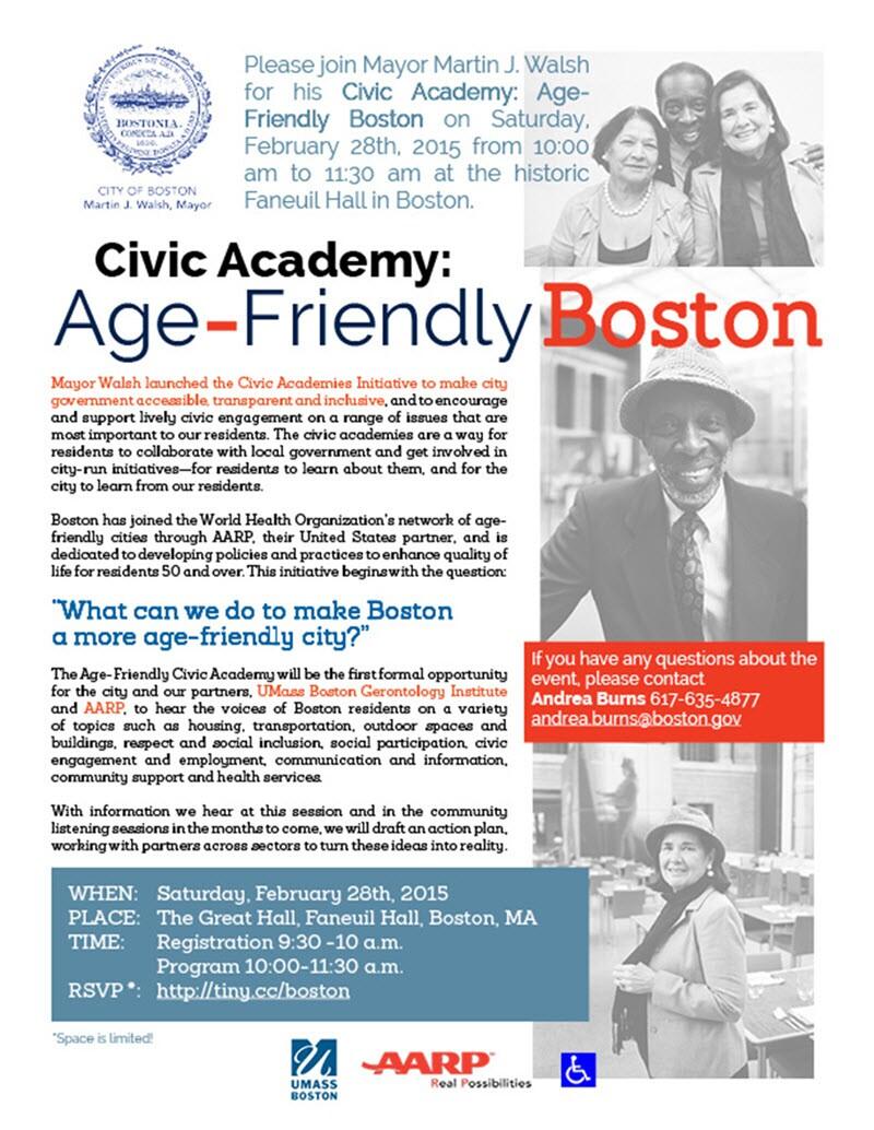 Boston Mayor Martin J. Walsh's Civic Academy invitation to Age-Friendly Boston event