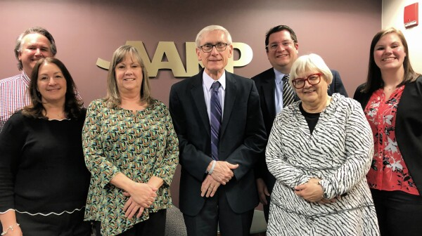 AARP WI staff with Gov. Evers