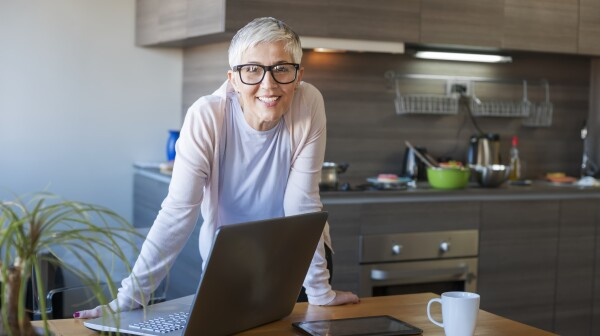 Mature woman working on computer