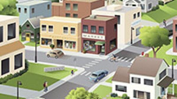 Small town main street. Livable Communities.