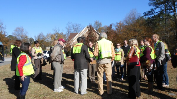 Photo of Livable Communities Workshop walking audit group in Kennesaw, GA - Auditing Cherokee Street for development.