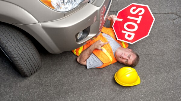 Constructure worker hit by car