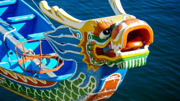 Chinese Dragon Painted Carved Wooden Boat