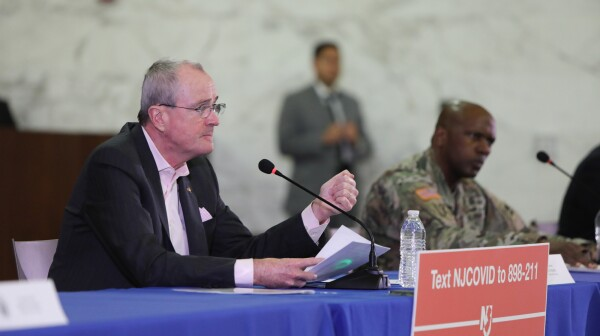 Governor Phil Murphy makes a major announcement during his daily coronavirus briefing on March 21, 2020, at Rutgers Law School in Newark (Edwin J. Torres for Governor's Office).