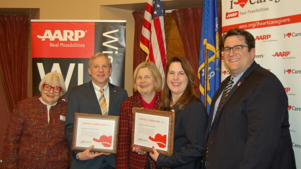 Award winners with AARP staff and state president