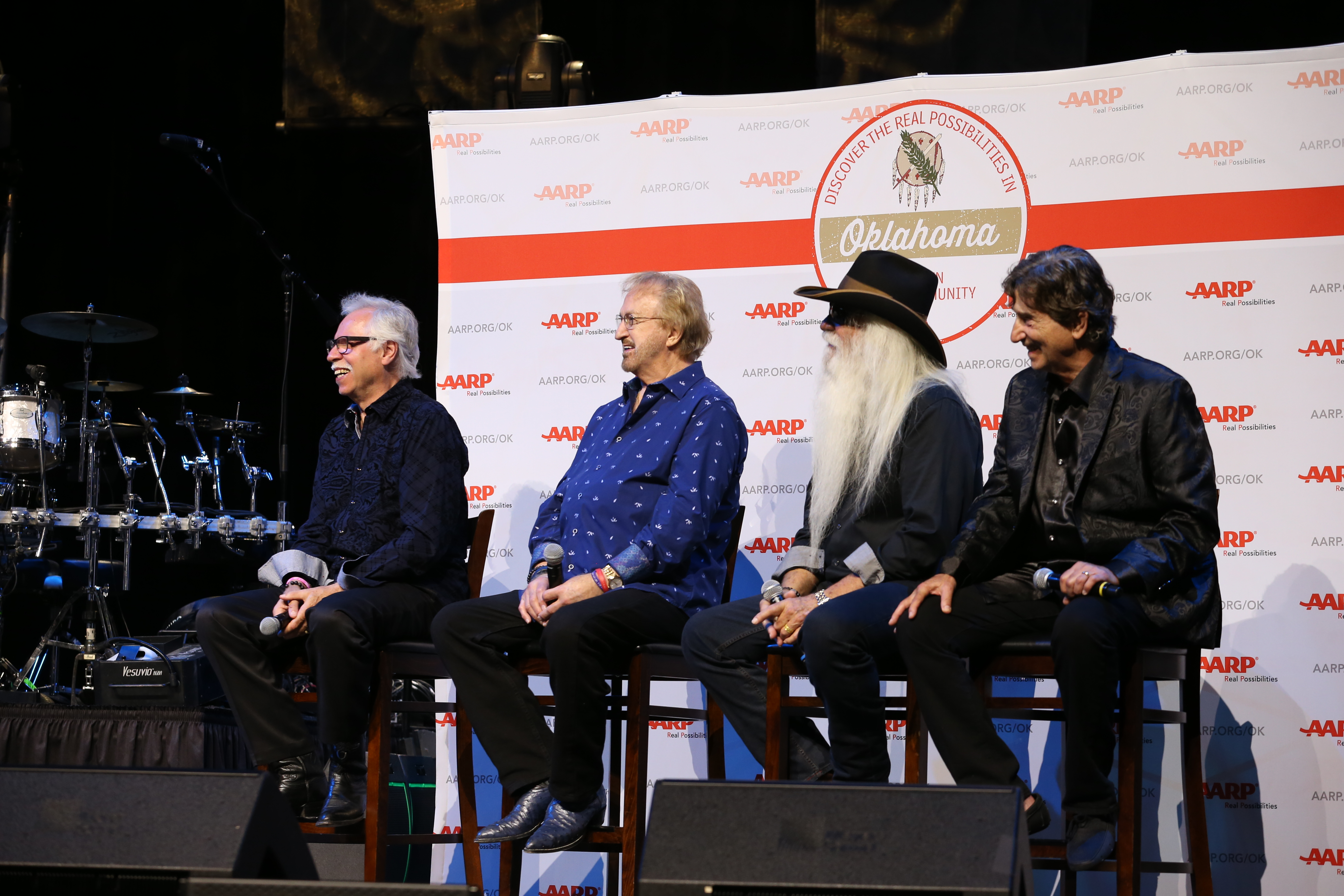 The Oak Ridge Boys' Joe Bonsall, Duane Allen, William Lee Golden and Richard Sterban take questions during PSA announcement press conference