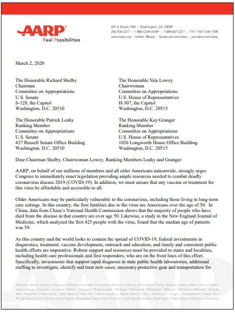 Carta de AARP al Congreso