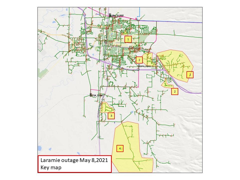 Laramie Outage Map, area 1