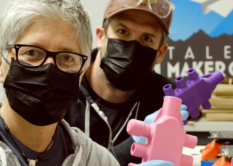 Ryan and Alli Fwith ventilator manifolds prototypes