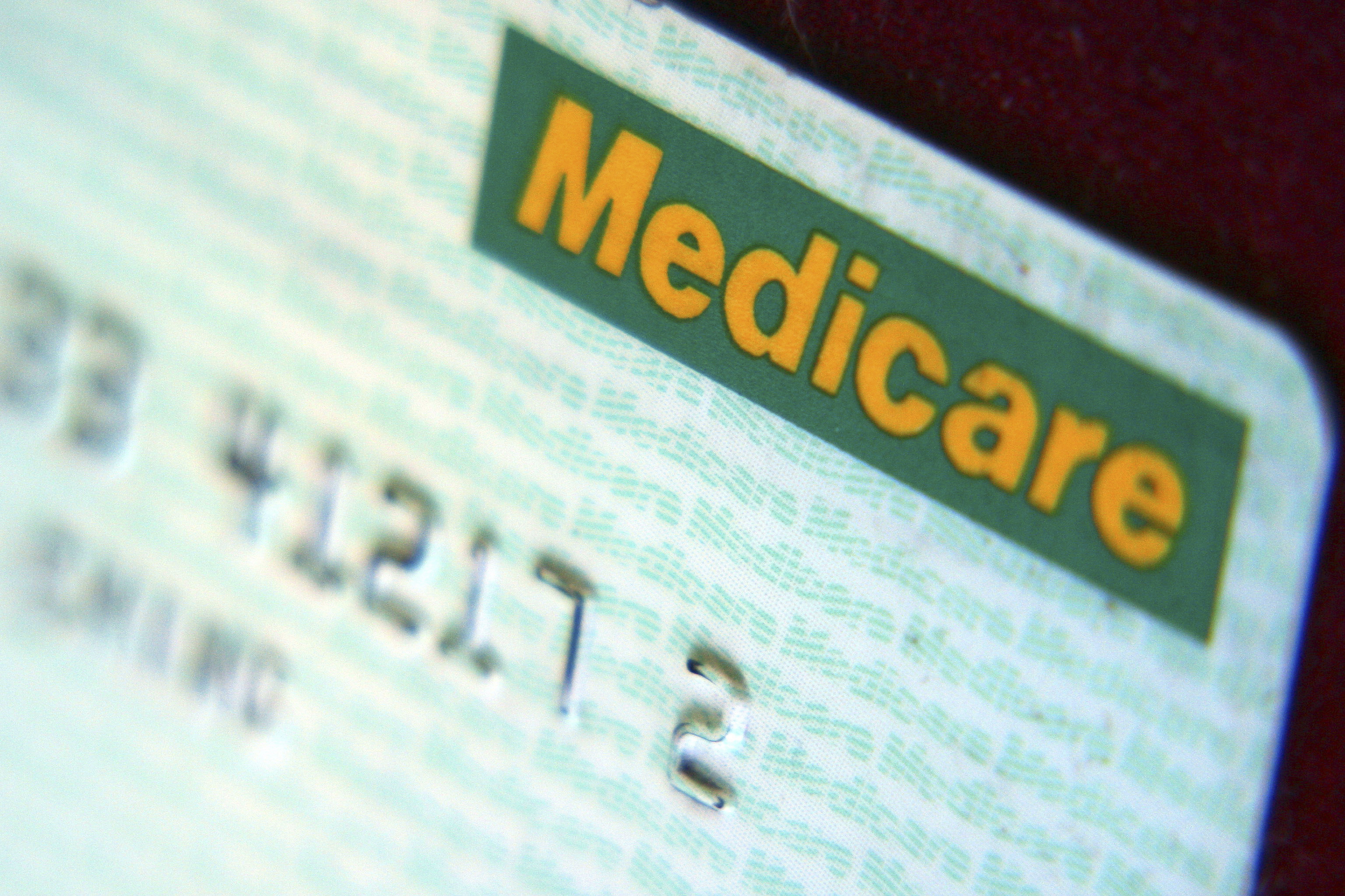 Close up view of a medicare card.