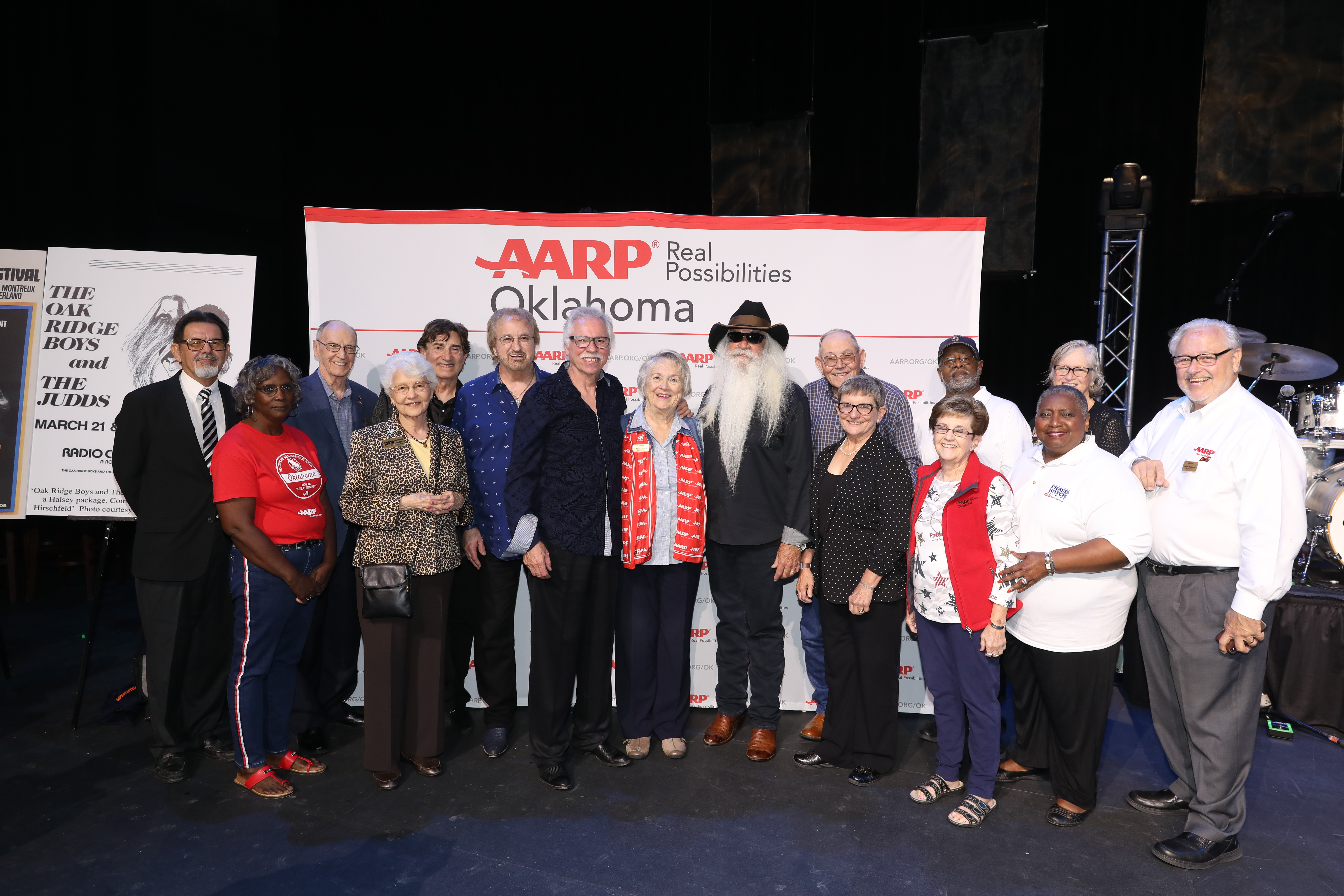 AARP Oklahoma Volunteers & The Oak Ridge Boys pose together for a photo after PSA launch