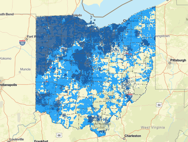 Map of Ohio with access to 25 Mbps download/3 Mbps upload speeds (coverage is shown in blue) with data collected by Connected Nation Ohio as of May 11, 2021
